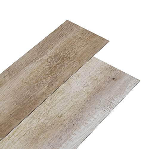vidaXL Lamas para Suelo Baldosa Azulejo Salón Antiestático Ignífugo Impermeable Antideslizante Autoadhesivas PVC Color Madera Deslavada 5,02m² 2mm