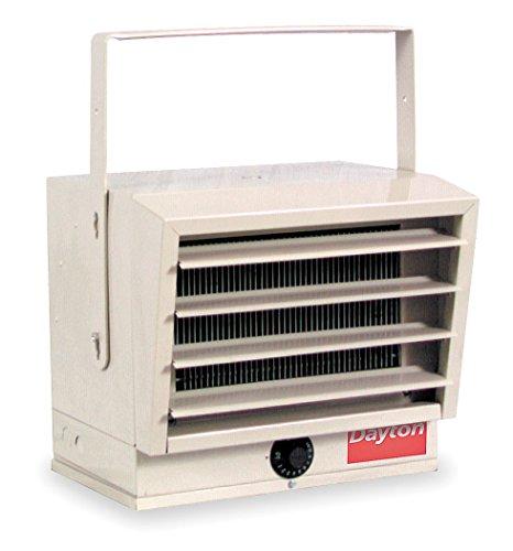 Dayton Electric Utility Heater, Voltage 240/208, kW 5.0/2.5, 3.7/1.8, BtuH 17,065/14,215, 12,800/6396-3UG73
