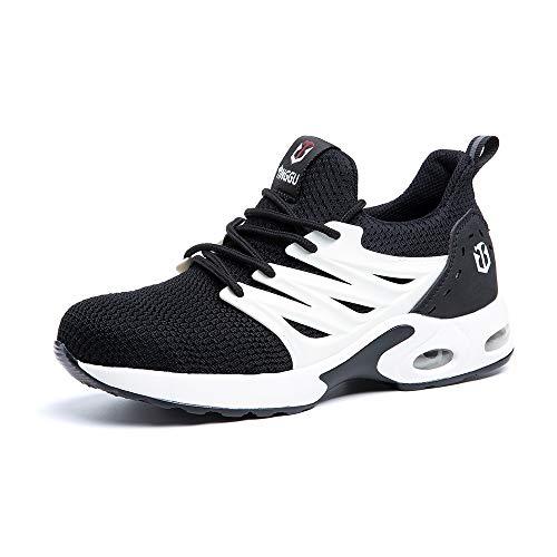Zapatos de Seguridad para Hombre Zapatillas Deportivas de Mujer Puntera de Acero Calzado de Industrial Trabajo Construcción Botas Tácticas Trekking H NegroBlanco EU42