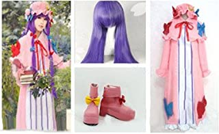 HALLE SHOP - Touhou Project Touhou Sangyouthou Patchouli No-Ledge Cosplay Costume + Wig + Shoes Costume for Halloween, Chr...