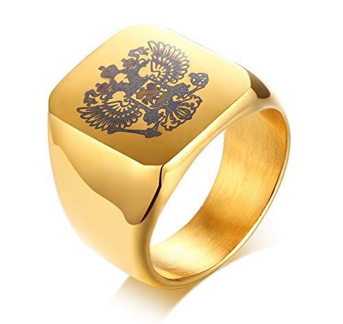 VNOX Gold Überzogene Edelstahl Russische National Emblem Flagge Doppeladler Logo Ring Für Männer,Größe 54 (17.2)