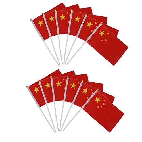 12pcs Mini Drapeau Chinois Chine Avec Hampe Flag Félicitations 21x13.5cm