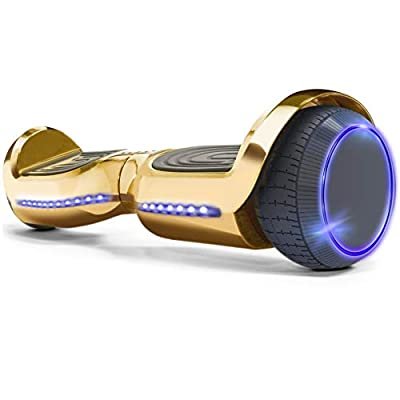 "XtremepowerUS Premium 6"" Hoverboard Self-Balancing Scooter LED Light Bluetooth Speaker (SGS Certified) for Kids and Adult, Gold"
