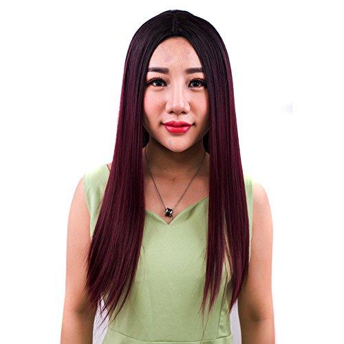 Nyrgyn Dégradé De Dégradé De Vin Rouge Dégradé Dans Les Cheveux Longs De Maquillage Beauté Perruque Droite 60cm