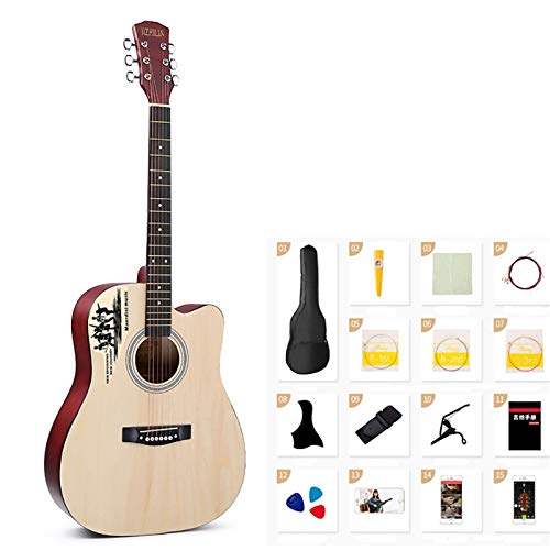 Las Guitarras clásicas 41 Pulgadas acústica Popular de la Guitarra Práctica de la Guitarra for Principiantes Estudiante de Guitarra for Principiantes Kit con Funda para los Principiantes y Adu
