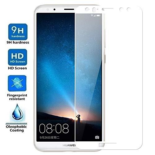 ELECTRÓNICA REY Protector de Pantalla Curvo para Huawei Mate 10 Lite, Blanco, Cristal Vidrio Templado Premium, 3D / 4D / 5D