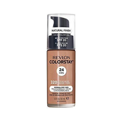Revlon ColorStay Makeup for Normal/Dry Skin SPF 20, Longwear Liquid Foundation, with Medium-Full Coverage, Natural Finish, Oil Free, 320 True Beige, 1.0 oz