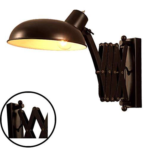 Wandleuchte Vintage mit Schalter, Wandlampe Rustikal Innen, Schwarz Industrial Wandleuchte Metall, Schlafzimmer Nachttischlampe Flexible Leselampe, Links/Rechts Schwenkbar, Ausziehbar Scherenlampe E27
