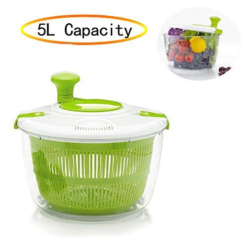 BIOBEY 5l Gemüseschleudertrockner, Manueller Salatschleuder Obstabfluss Kunststoff Küche Schnellgemüsetrockner, Mehrzweckschleudertrockner Für Die Küche