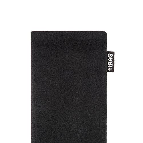 fitBAG Classic Schwarz Handytasche Tasche aus original Alcantara mit Microfaserinnenfutter für Huawei Ascend D Quad/D Q   Hülle mit Reinigungsfunktion   Made in Germany - 4
