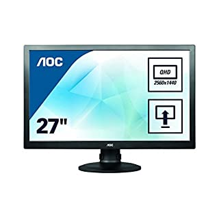 AOC Q2770PQU 68,6 cm (27 Zoll) PLS-Monitor (VGA, DVI, HDMI, USB, DisplayPort, 2560 x 1440, 60 Hz, höhenverstellbar, Pivot) schwarz (B00H51Q4MK) | Amazon price tracker / tracking, Amazon price history charts, Amazon price watches, Amazon price drop alerts