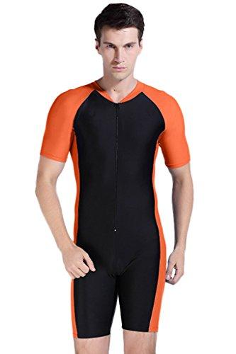 Herren Schwimmanzug Lang UV-Anzug UPF>50 Schutzkleidung Sunsuit Ganzk?rperansicht Badeanzug M Orange