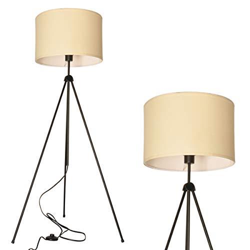 stehlampe modern deckenfluter dreibein weiß creme schirm e27 fassung Stehleuchte wohnzimmer esstisch stehlampe scandinavian design metall led lampe vintage Nachtlicht industrie