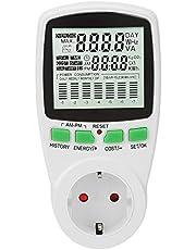 Energiemonitor stroommeter stekker intelligente stroomverbruiksmonitor voor elektrische apparaten 0-16A 0.000KWh-9999KWh EU-stekker)