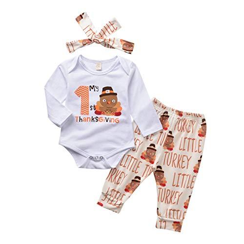 Thanksgiving Baby Unisex Kleding Set Lange Mouw Letter Romper Bloemen Streep Turkije Broek Hoofdband 3 Stks Katoen Herfst Winter Outfit Set