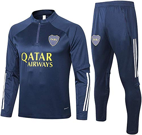 CLQ Camiseta Boca Juniors 20-21 Nueva Temporada Uniforme de Entrenamiento de fútbol Unisex Ropa Deportiva Regalo de fútbol Favorito de los fanáticos-L_Azul