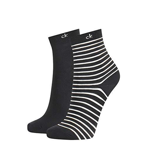 Calvin Klein Sheer Stripe Women's Socks (2 Pack) Calcetines, Negro, Talla única para Mujer