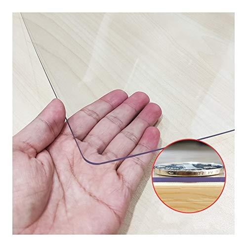 NINGWXQ Doorzichtige PVC Tafelkleedbeschermer Waterbestendig Plastic Rechthoekig Vinyl Bureau Pad for Salontafel/Schrijfbureau, Aanpasbaar (Color : Clear, Size : 60X120CM)