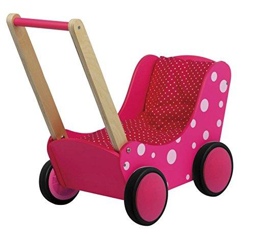 GICO Puppenwagen Lauflernwagen aus Holz, pink & dots mit Garnitur und Gummirädern