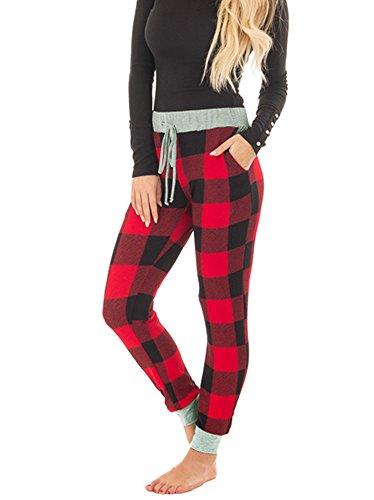 Tutorutor Womens Buffalo Plaid Jogger Pants Christmas Lounge Sleep Sweatpants Stretch Cotton Pant Black and Red