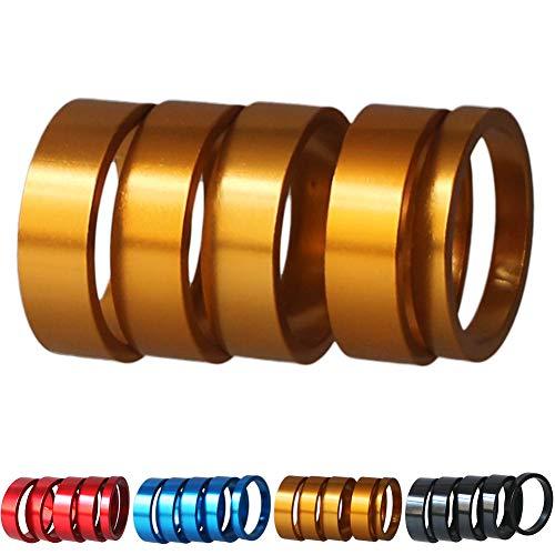 GANOPPER Distanziatori per forcella mountain bike da 1 1/8 pollici, anelli distanziatori (oro)