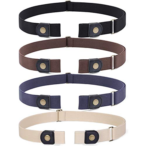 4 Pieces No Buckle Stretch Belt for Women Men, WHIPPY Buckle Free Invisible Elastic Waist Belts (Black Khaki Blue Beige, Fit Pants Size 32-48 Inches)