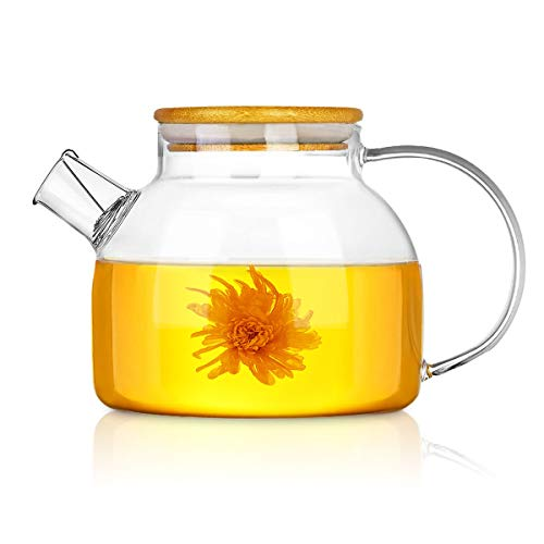 Glass Teapot, CNNIK 1L Borosilicate Glass Pitcher with Wooden Lid, Carafe for Hot/Cold/Ice Water Tea Wine Coffee Milk and Juice Beverage