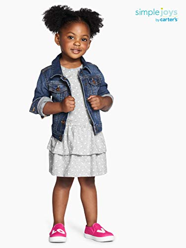 Simple Joys by Carter's Girls' Toddler 2-Pack Short-Sleeve and Sleeveless Dress Sets, Gray Dot/Floral, 4T