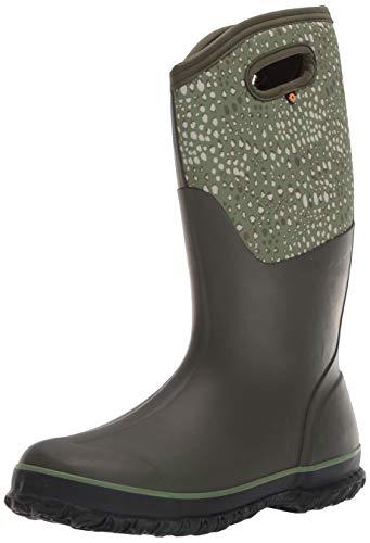 BOGS Women's Classic Tall Waterproof Rain Boot, Appaloosa Print-Olive...