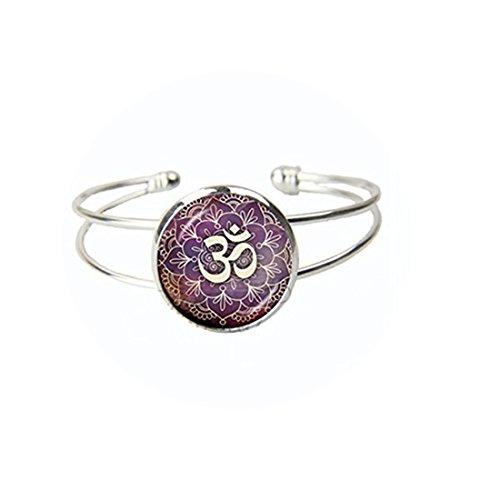 Pulsera con diseño de Lotus Om Yoga Jewelry India con símbolo Om budismo Zen Meditación Mandala de cristal cúpula