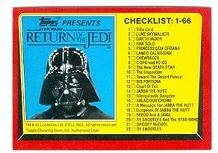 Return of the Jedi Star Wars trading card 1983 Topps #131 Checklist Darth Vader