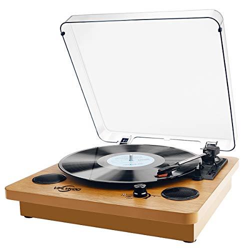 Giradischi Vinile,VIFLYKOO Bluetooth Vintage Vinile Giradischi 3 Velocità 33/45/78 RPM con 2 Altoparlanti Integrati e Encoder Digitale,Trasmissione a cinghia,Presa RCA e Ingresso AUX - Legno Naturale