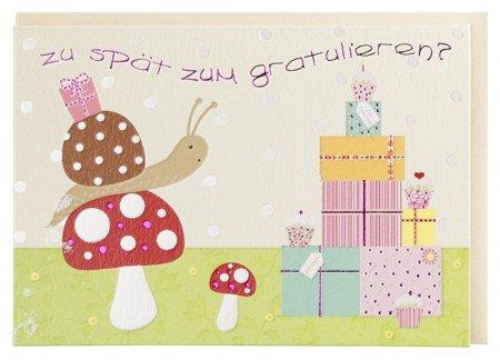 Geburtstagskarte Nachträglich Niedliche Schnecke A6