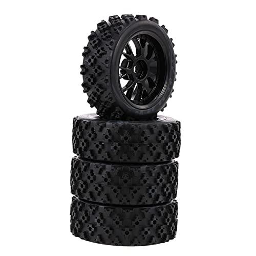 Greatangle-UK 4pcs / Set 1:10 RC Neumáticos de Goma Star Word Fetal Flower Llanta de Rueda Todoterreno y neumáticos para 1:10 Racing Off Race Car Accesorios Negro
