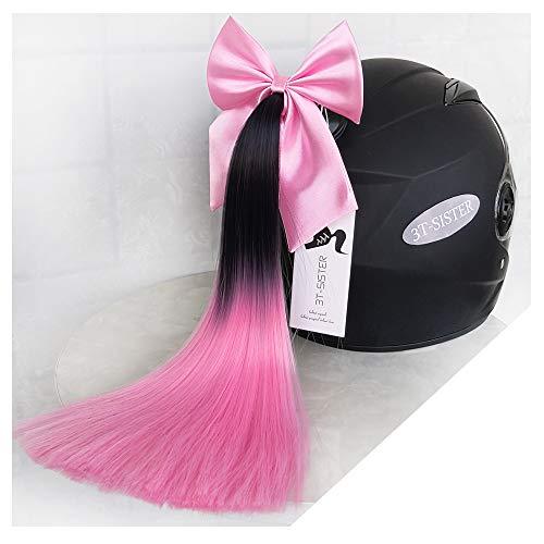 3T-SISTER Helm Pigtails met Boog Knoop 14inch Helm Paardenstaart Decoratie voor Motorfiets Ski Helm Accessoires Herbruikbare Zuignap (black to pink)