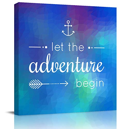 """Canvas Wall Art - Let The Adventure Begin and Geometric Pattern - Modern Wall Decor Gallery Canvas Wraps Giclee Print Stretched and Framed Ready to Hang - 24"""" x 24"""""""