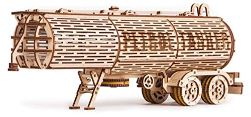 Wood Trick Fuel Tank Trailer Addition for Big Rig Truck, Petrol Trailer for Semi Truck - 3D Wooden Puzzle, Best DIY Toy - STEM Toys for Boys and Girls
