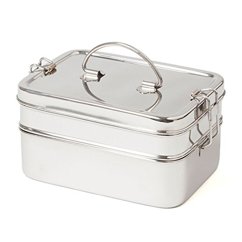 ECO Brotbox   Brotbox XL Double   Brotdose aus Edelstahl mit 2 Lagen   1900 ml
