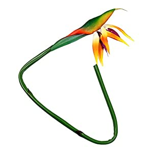 VOSAREA Bird of Paradise Silk Flower Strelitzia Bouquets Permanent Tropical Floral Stem Faux Artificial Plants Arrangement for Home Office Vase Decor Orange