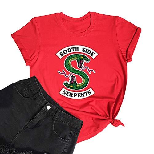 Yesgirl Riverdale Southside Serpents T-Shirts Femme Fille Mode Été Sport Tops Élégant Hauts Décontractés Chemisiers Chemise Femmes Manches Courtes Tops Pull Rouge XS