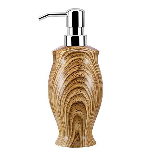 Luxspire Dispenser per Sapone Liquido, Dispenser in Resina Sicura, Dispenser a Pressione di 350 ml, Dosatore per Sapone Liquido, Riempibile e Versatile, Accessori per Casa Bagno, Venatura del Legno
