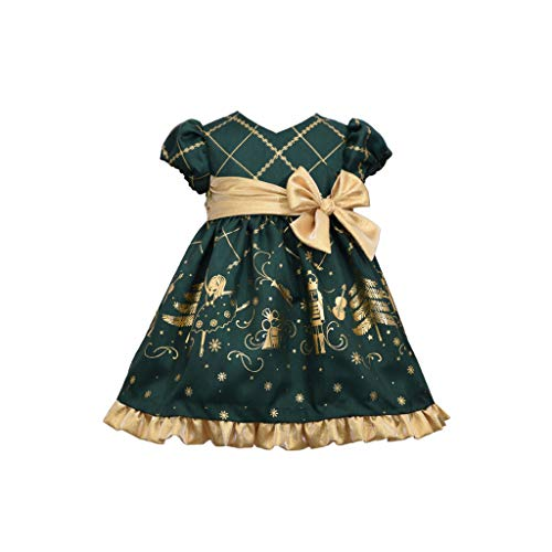 Bonnie Jean Christmas Dress - Green Nutcracker for Baby, Toddler and Little Girls, 18 Months