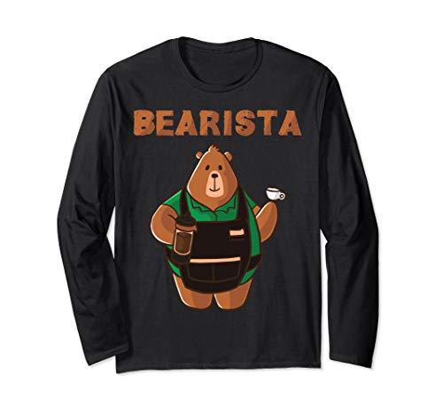 Bearista Grizzly Bär Coffee Barista Cafe Cappuccino Kafee Langarmshirt