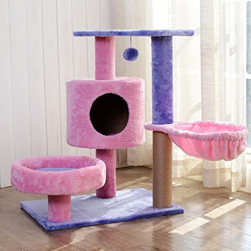Better Katzenbaum, mittlere Spanplatte Katzen Kletterrahmen mit Katzenhaus und Katzenkorb Katzentraktionszentrum Katzenkratzbrett SL-026 (Farbe : Rosa, größe : 40cm*60cm*75cm)