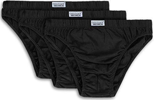 normani 3er Pack klassisch geschnittene Herren Slips Mens aus 100{1d3f481aa558cc450448658f2739703178ed0e53737d902c27281fd6b10b8a28} Baumwolle - Underwear - Unterwäsche - Unterhosen für Männer Farbe Schwarz Größe 4XL