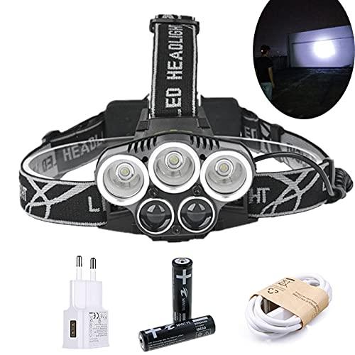 Linterna Frontal USB recargable 3T6 + 2R5 FATRIGHT LED Faro LED 15000lm 6mode Faro de la luz de la cabeza para la luz de pesca + 18650 Batería + Cargador USB (Emitting Color : Package B)