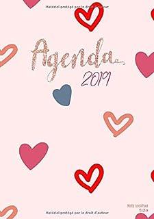Agenda 2019 Modèle Love & Peace 15×21 cm: Organiseur rose, 1 Semaine sur 2..