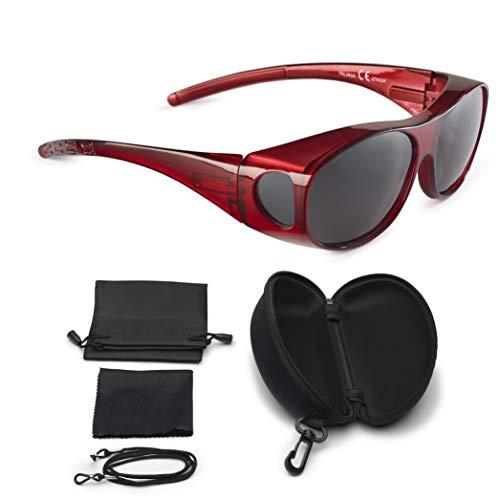 Mediaaktive Sonnenüberbrille Überzieh Sonnenbrille FLEXI EDITION polarisiert UV 400 (Rot, Grau)