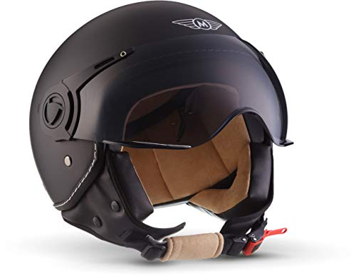 "MOTOHelmets® H44 ""Matt Black"" · Jet-Helm · Motorrad-Helm Roller-Helm Scooter-Helm Bobber Mofa-Helm Chopper Retro Cruiser Vintage Pilot Biker Helmet · ECE Visier Schnellverschluss Tasche L (59-60cm)"