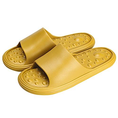 JMung Fußmassagegerät Reflexzonenmassage Hausschuhe Schuhe für Männer Frauen, rutschfest Hausschuhe Akupressur Massagematte - Hilft Bei Plantarfasziitis,Female Lemon Yellow,39~40